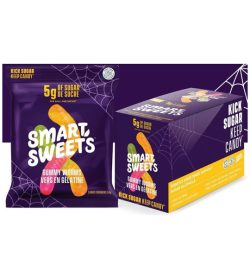 A purple and yellow banner of Smart Sweets Gummy Worms box