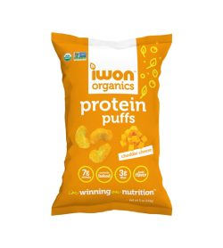 One yellow and white pack of iWon Protein Puffs Jumbo Cheddar Cheese 141 g