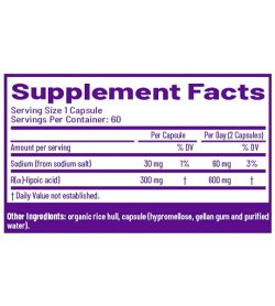 AOR High Dose R Lipoic Acid 60 Capsules supplement facts
