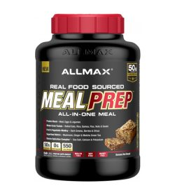 One black and red container of Allmax Meal Prep 5.6lbs Banana Nut Bread flavour