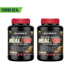 2 black and red containers of Allmax Meal Prep 5.6lbs Banana Nut Bread combo