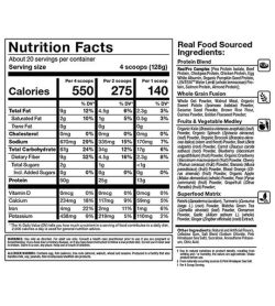 Nutrition fact and ingredients panel of Allmax Meal Prep 5.6lbs Banana Nut Bread Serving size 4 scoops (128g)