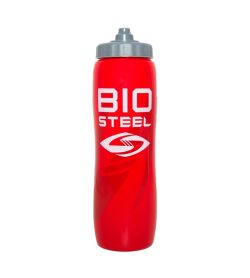 One red and grey Biosteel Team Water Bottle in white background