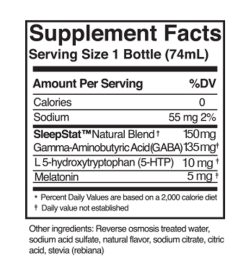 Supplement facts panel of Dream Water Sleep Aid Snoozeberry Serving Size 1 Bottle (74mL)