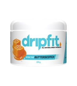 One white blue and orange container of Dripfit Butterscotch 224 g