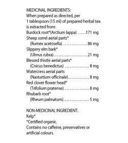 Flora Flor Essence Dry Herbal Cleanse 63g medicinal ingredients panel