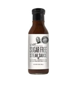 A brown and white bottle of G Hughes Sugar Free Steak Sauce