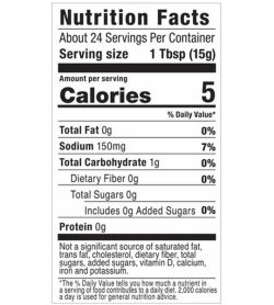Nutrition fact and ingredients panel of GHughes Sugar Free Steak Sauce About 24 Servings Per Container