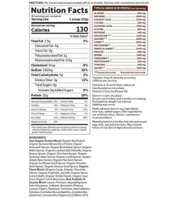 Nutrition fact and ingredients panel of Garden of Life Raw Organic Protein Chocolate Cacao Serving size 1 scoop (33g)
