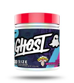 One blue pink and red container of Ghost Size 30 Servings Sour watermelon flavour