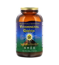 One brown green and blue bottle of HealthForce Vitamineral Greens Powder Net Wt 500g (17.64 oz)