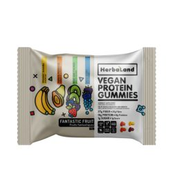 One white pack of Herbaland Vegan Protein Gummies Fantastic Fruit 50 grams