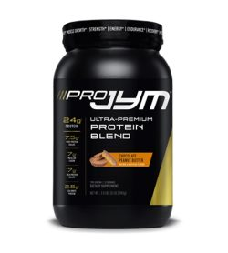 One black and yellow container of JYM PRO JYM Protein Blend 2lb Chocolate Peanut Butter flavour