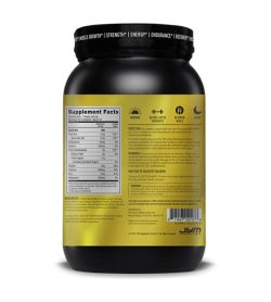 One black and yellow container of JYM PRO JYM Protein Blend 2lb Chocolate Peanut Butter facts panel