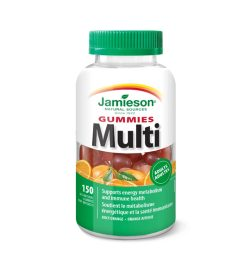 One white and green bottle of Jamieson Gummies Multi