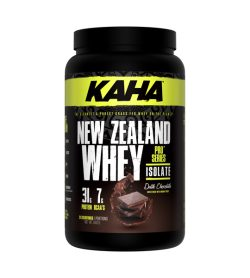 One black and green container of Kaha NewZealand Whey Dark Chocolate flavour