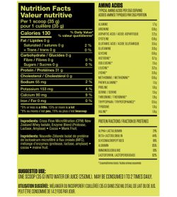 Kaha NewZealand Whey DarkChocolate nutrition facts and suggested use panel