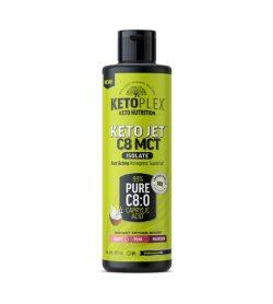 One green and black bottle of Keto Plex Keto Jet C8 MCT Oil Isolate 473ml