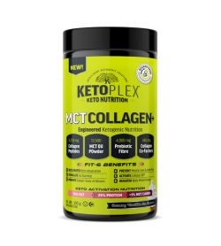 One green and black container of KetoPlex MCT Collagen 305g