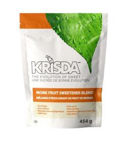 One white orange and green pack of Krisda Monk Fruit Sweetener 454 g