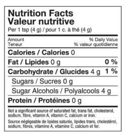 Krisda Monk Fruit Sweetener nutrition facts Per 1 tsp (4 g)