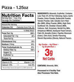 Nutrition fact and ingredients panel of LegendaryFoods Flavored Almonds Pizza Serving Size: 1 bag (35g)