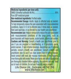 Medicinal ingredients panel of Life Choice Dmso Liquid 118mL label