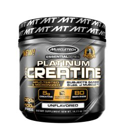 One black and yellow container of Muscletech Platium Creatine UNFLAVORED DIETARY SUPPLEMENT NEW WT. 14.11 oz. (400g)