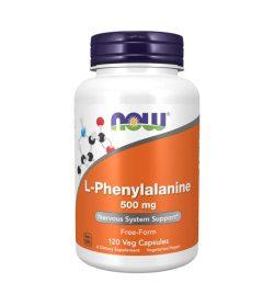 One white purple and orange bottle of NOW L Phenylalanine Veg Capsules 500mg Nervous System Support