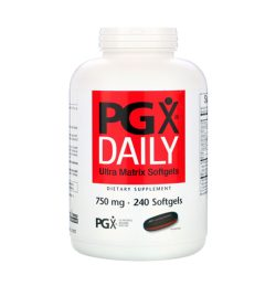 One white and red bottle of NaturalFactors PGX Daily Ultra Matrix 750mg 240 softgels