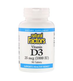 One white and blue bottle of NaturalFactors Vitamin D3 1000IU SUPPORTS HEALTHY BONES