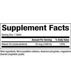 NaturalFactors Vitamin D3 1000IU supplement facts panel