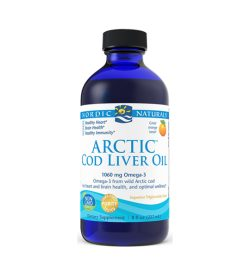 One white and blue bottle of NordicNaturals Arctic Cod Liver Oil Orange 473ml