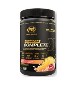 One black and orange container of PVL EAA+BCAA Complete Tropical Punch flavour