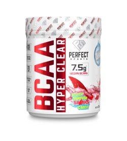 One white and red container of PerfectSports Hyper Clear BCAA 45 Servings Intense Swedish Sharks Candy flavour