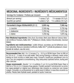 PerfectSports Hyper Clear BCAA 45 Servings Intense Swedish Sharks Candy medicinal ingredients panel