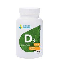 One white and green bottle of PlatimumNaturals Vitamin D2 1000 IU 360 softgels