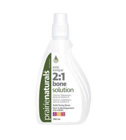 One white and green bottle of PrairieNaturals Calcium Bone Solution 21