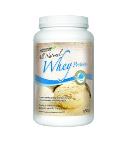 One white and yellow container of Precision All Natural Whey 850g French Vanilla Creme flavour