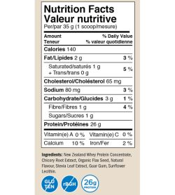 Nutrition fact and ingredients panel of Precision All Natural Whey 850g French Vanilla Creme Per/par 35 g (1 scoop/mesure)