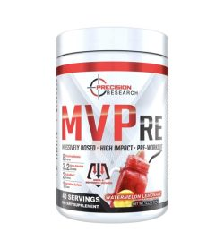 One white and red container of Precision MVPre 40Servings Watermelon Lemonade flavour