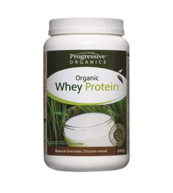 One white and green container of Progressive 100% Organic Whey Protein chocolate flavour 640 g