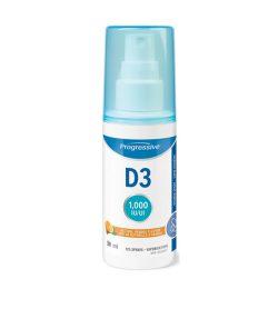 One white and blue bottle of Progressive D3 Spray 1000IU 125 sprays