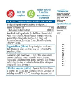 Medicinal ingredients panel of Progressive D3 Spray 1000IU 125 sprays