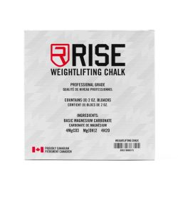 One grey label of Rise weightlifting chalk box of 8 ingredients
