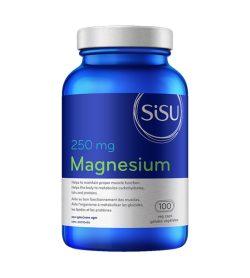 One blue and white bottle of Sisu Magnesium 250mg