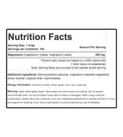 Nutrition fact and ingredients panel of Sisu Magnesium 250mg Serving Size: 1 Vcap
