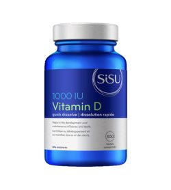One blue and white bottle of Sisu Vitamin D 1000IU Helps in the development and maintenance of bones and teeth.