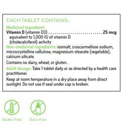Sisu Vitamin D 1000IU medicinal ingredients panel