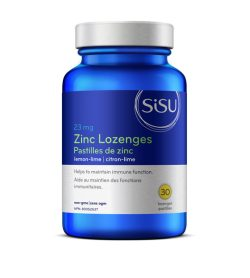 One blue and white container of Sisu Zinc Lozenges